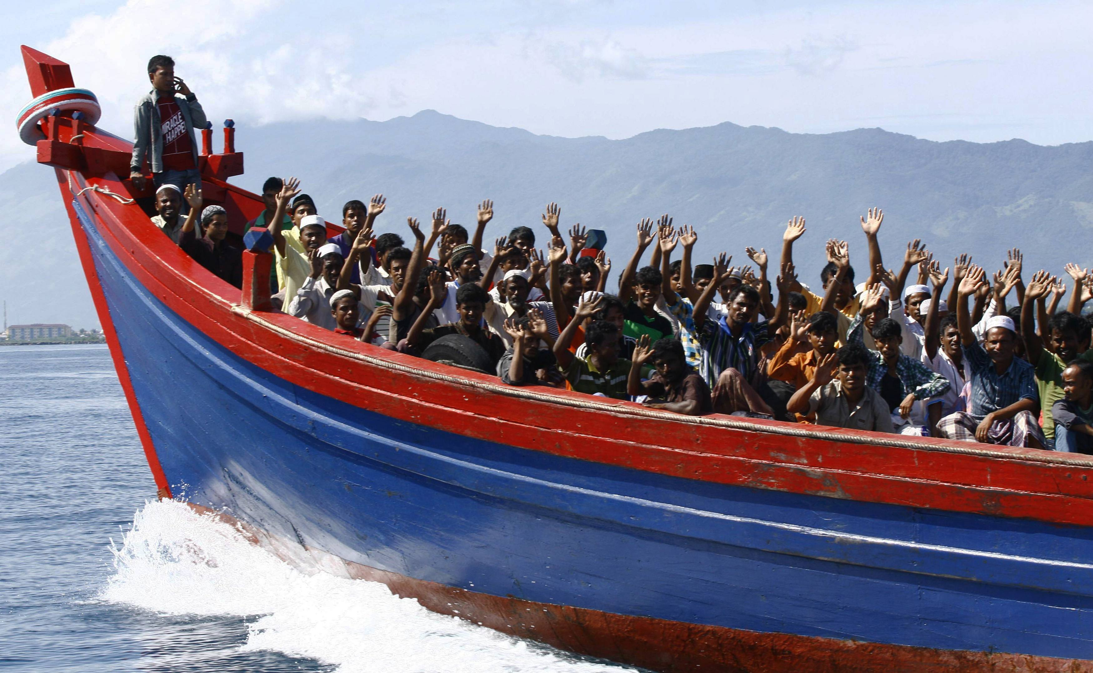A boat with Rohingya migrants.